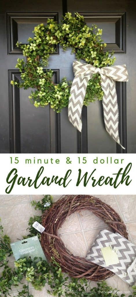 Easy Garland Wreath - only 15 minutes & 15 dollars!