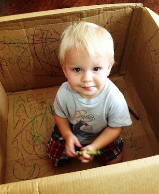 Keeping Toddlers Busy - drawing in a box