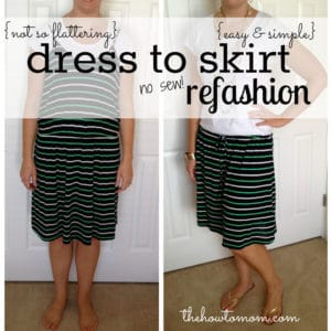 dress to skirt refashion (no-sew!)