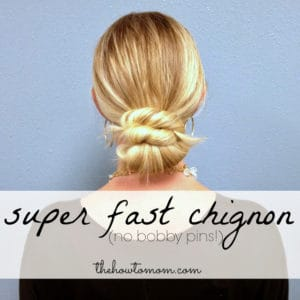 super fast chignon (no bobby pins!)