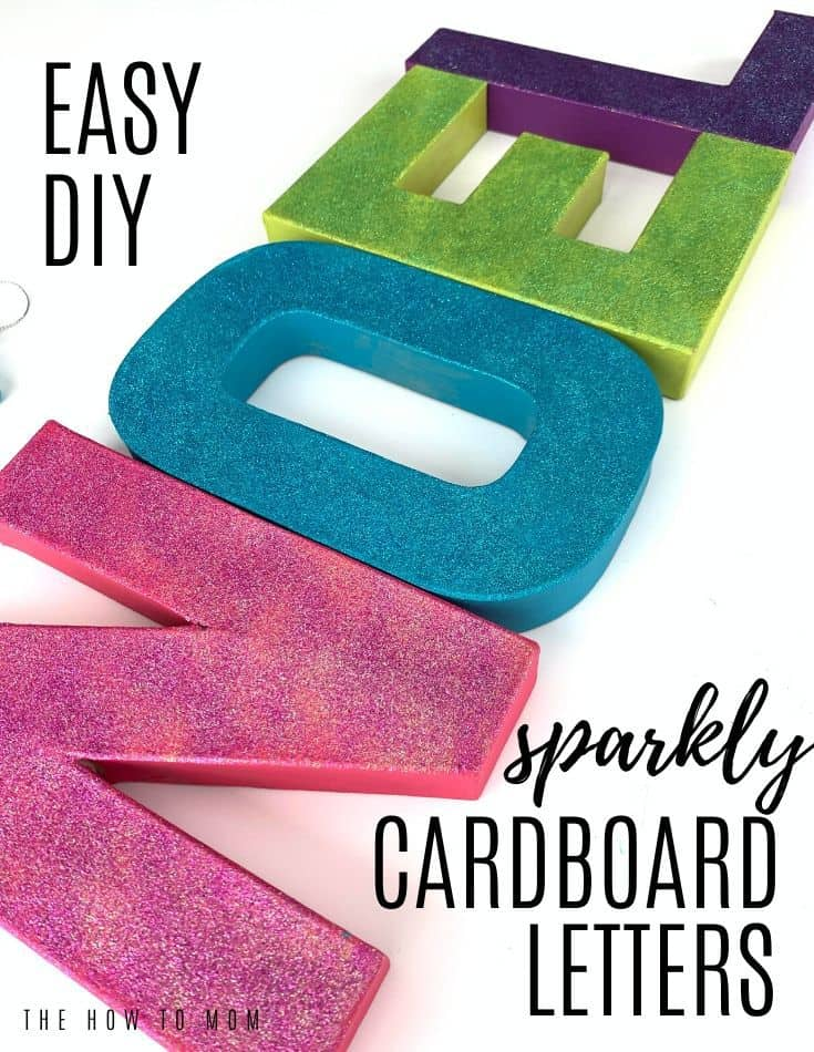 East DIY Sparkly Cardboard Letters