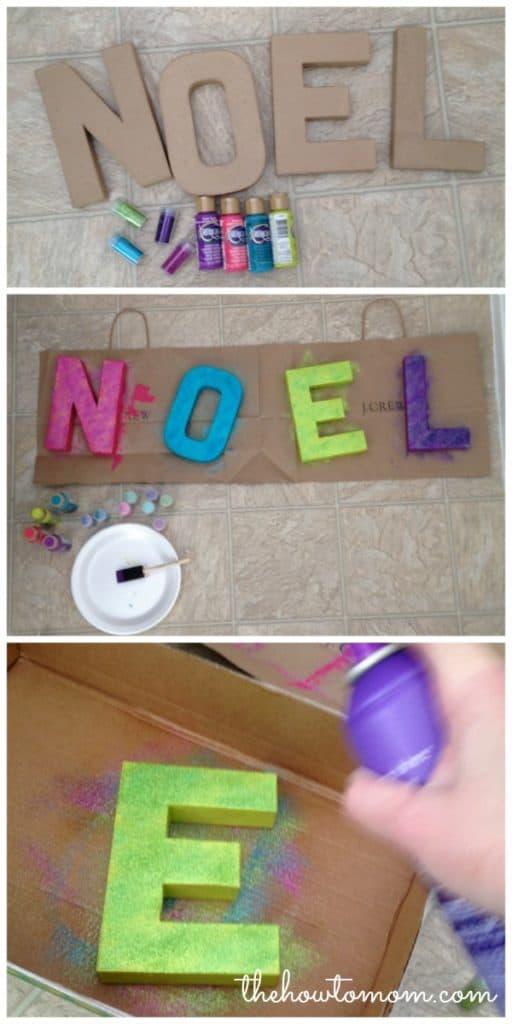Use glitter on cardboard letters