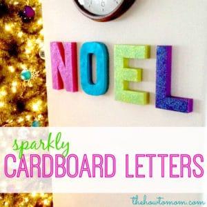 Sparkly Noel Cardboard Letters DIY