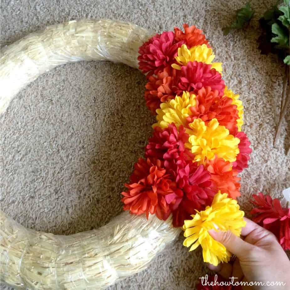 fall mum wreath idea