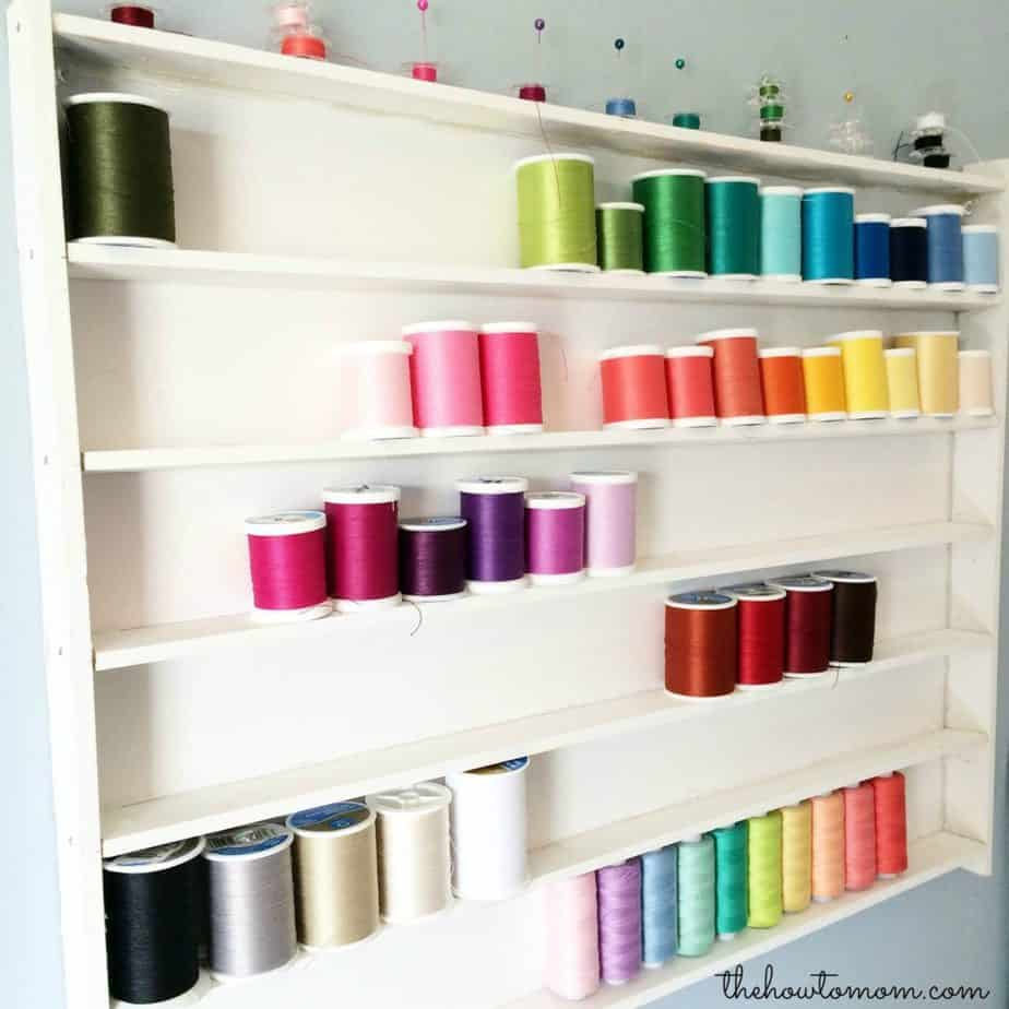 Colorful thread organizer for sewing room