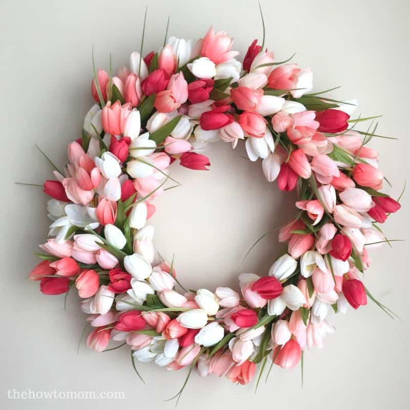 beautiful spring tulip wreath with stunning silk tulips