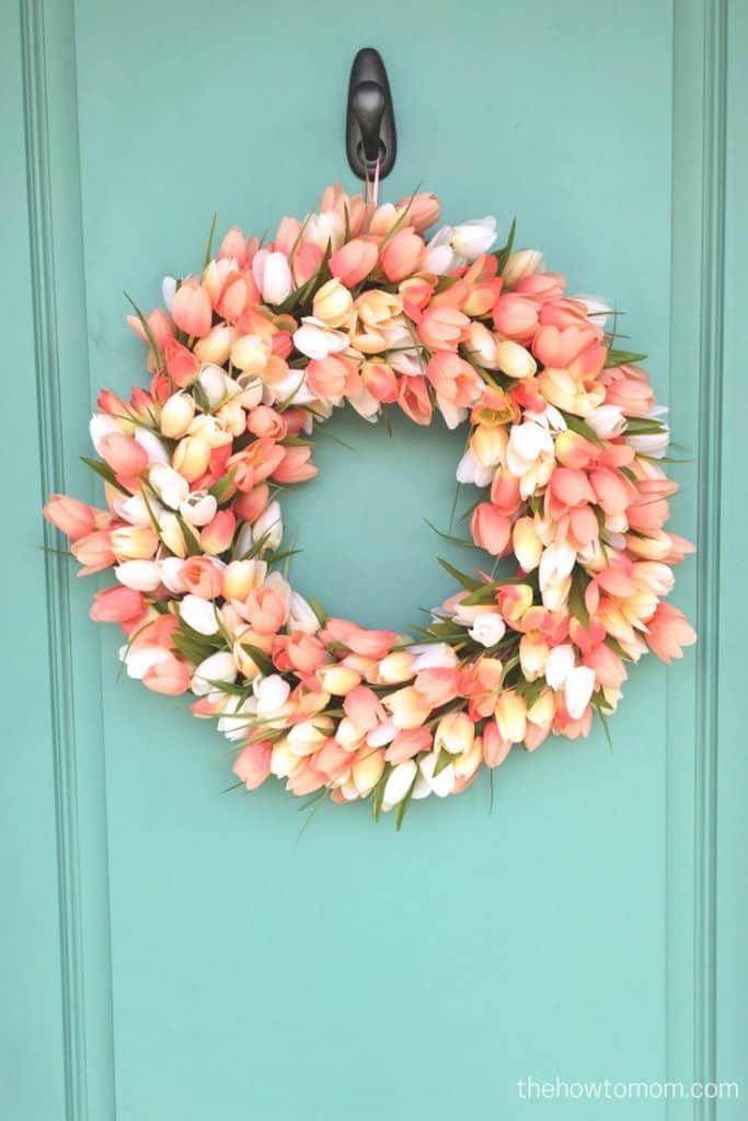 Peach tulip wreath DIY - on gorgeous teal door!
