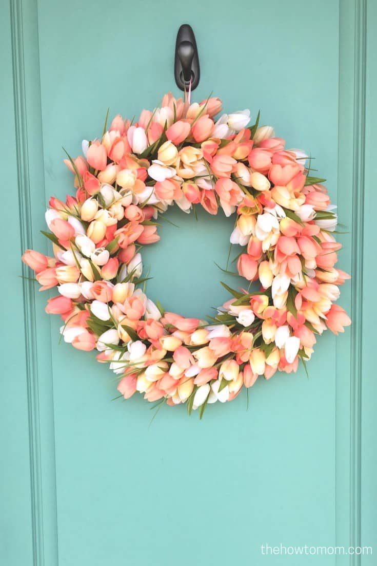 Spring tulip wreath DIY - looks gorgeous on this teal door!