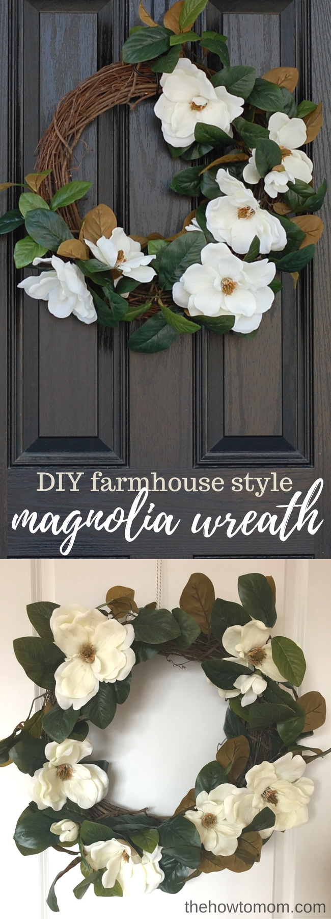 Farmhouse Style Magnolia Wreath - Easy DIY