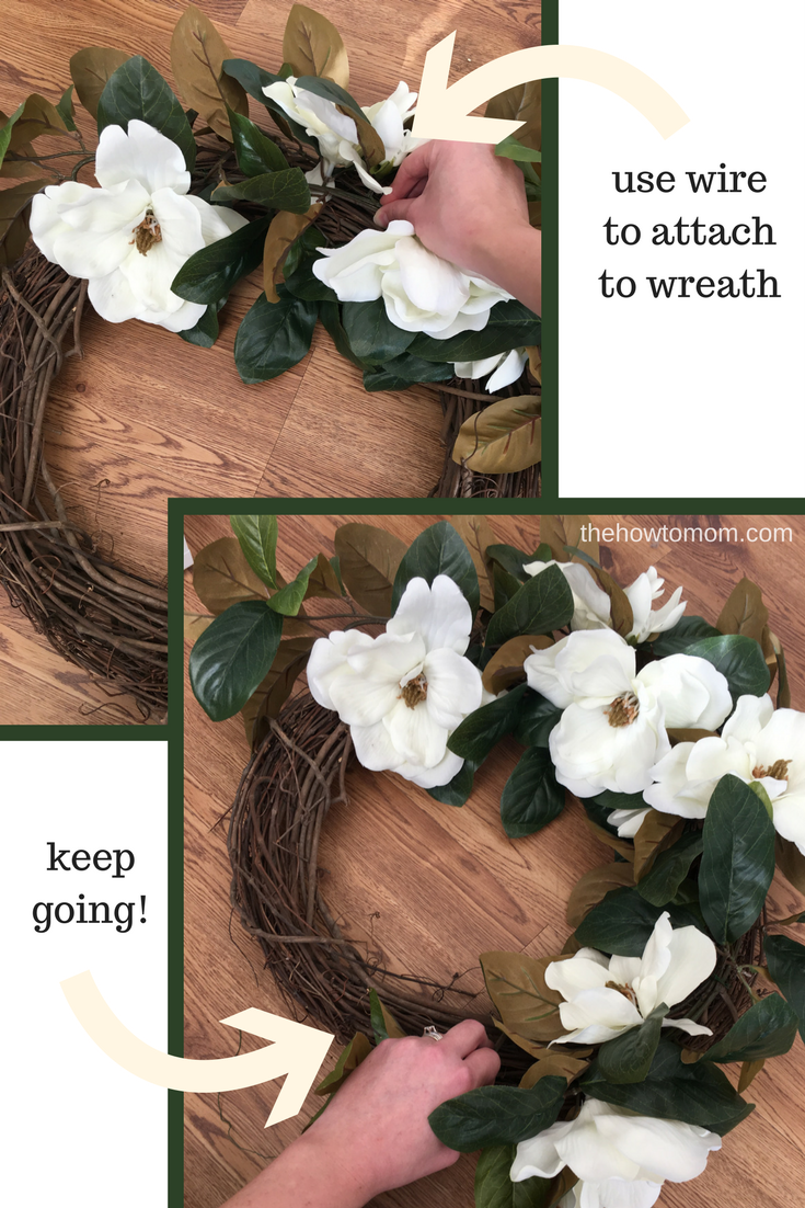 how to make an easy magnolia wreath farmhouse style decor