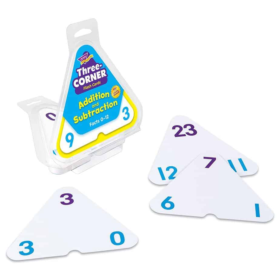 Three Corner Flash Cards - fun ways to practice math skills
