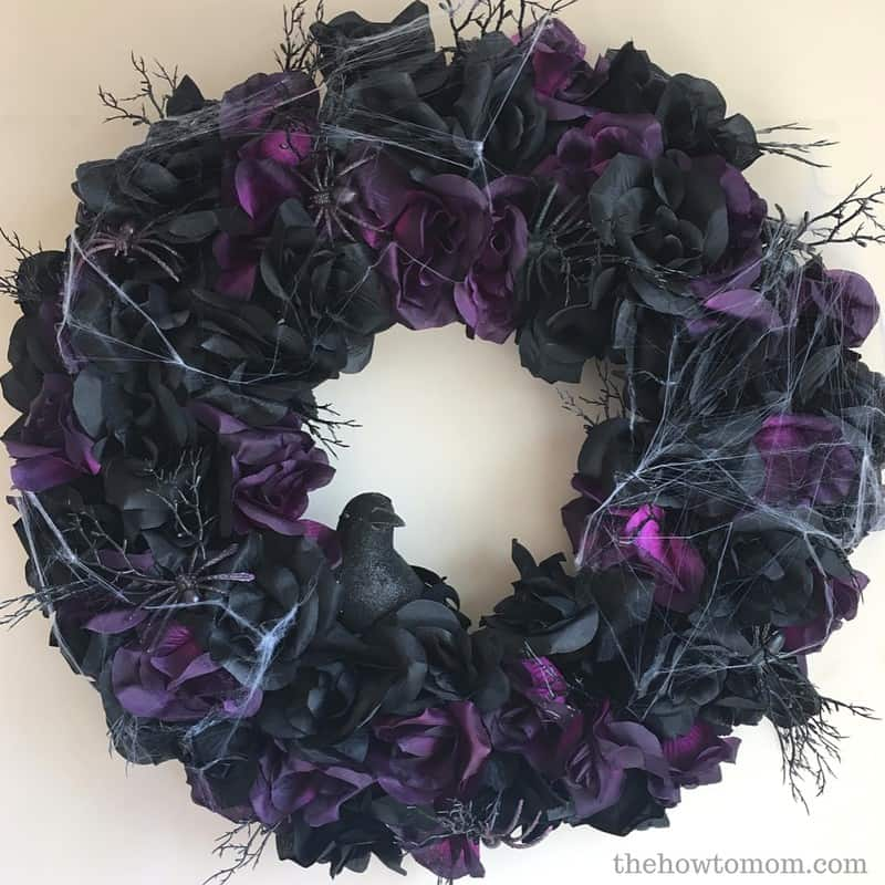 Spider and Black Rose Wreath - Halloween DIY