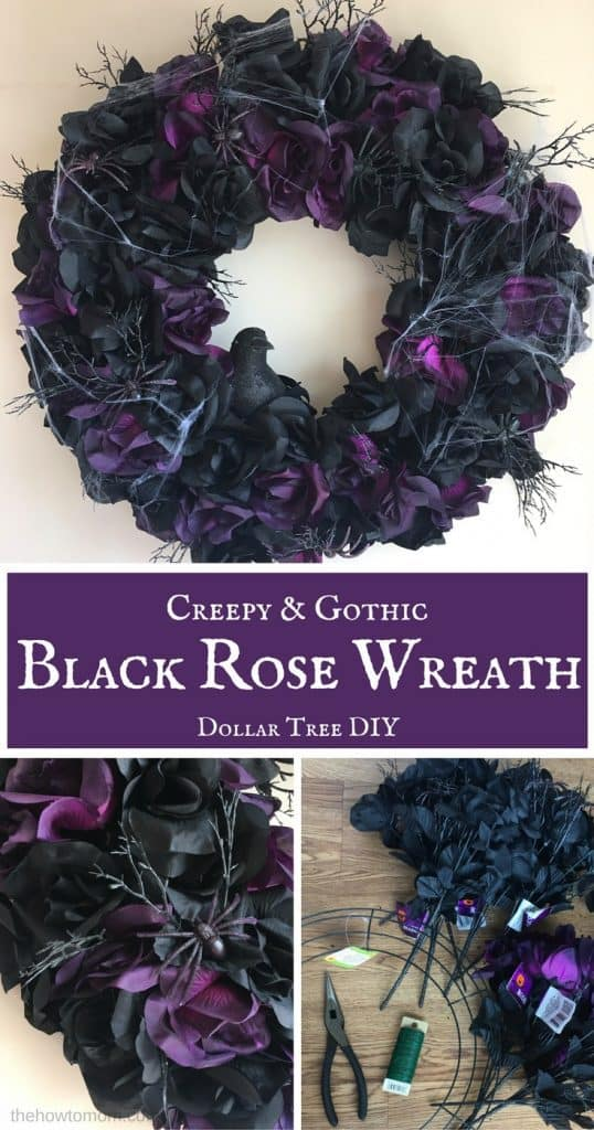 Creepy and Gothic Black Rose Wreath - Dollar Tree DIY