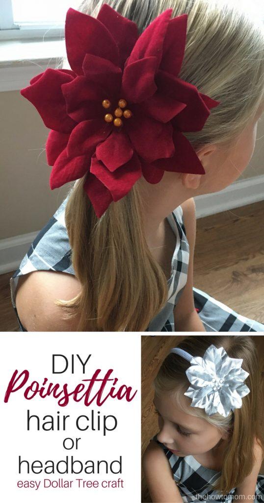 Easy Poinsettia Hair Clip - Dollar Tree Craft