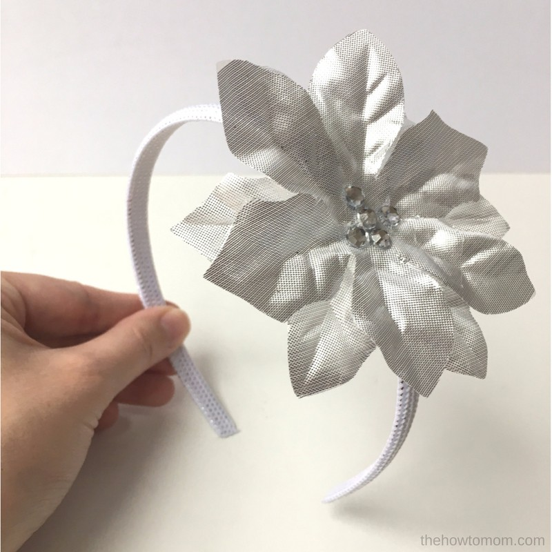 Poinsettia hair clip diy easy dollar tree craft the for Black headbands dollar tree