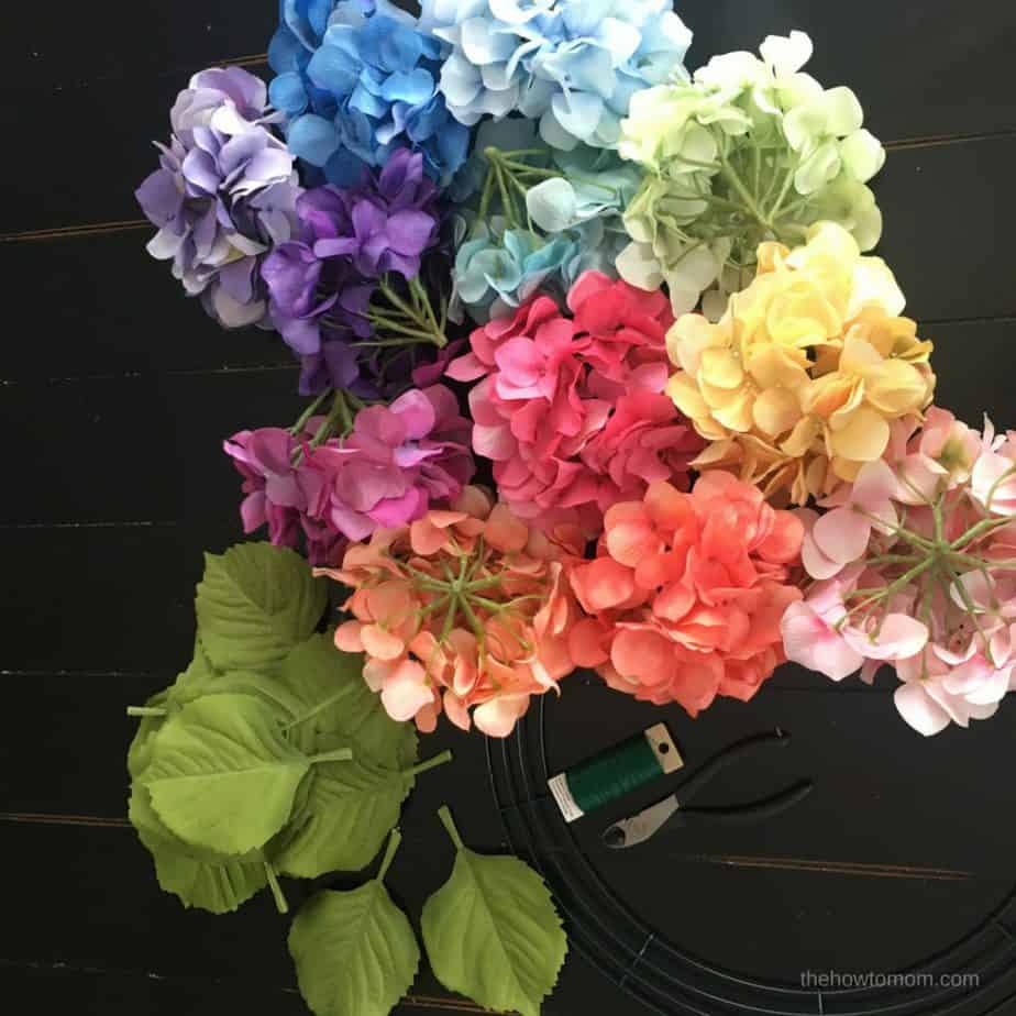 DIY Hydrangea Wreath - supplies needed