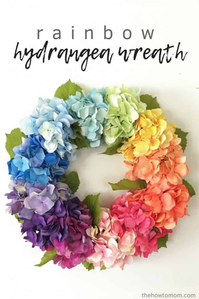 How to Make a Rainbow Hydrangea Wreath - easy and stunning!