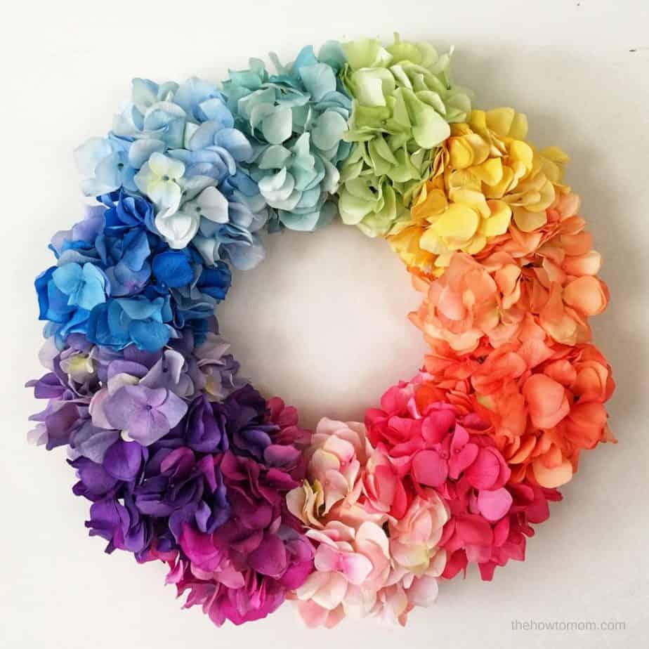 Ombre Rainbow Hydrangea Wreath
