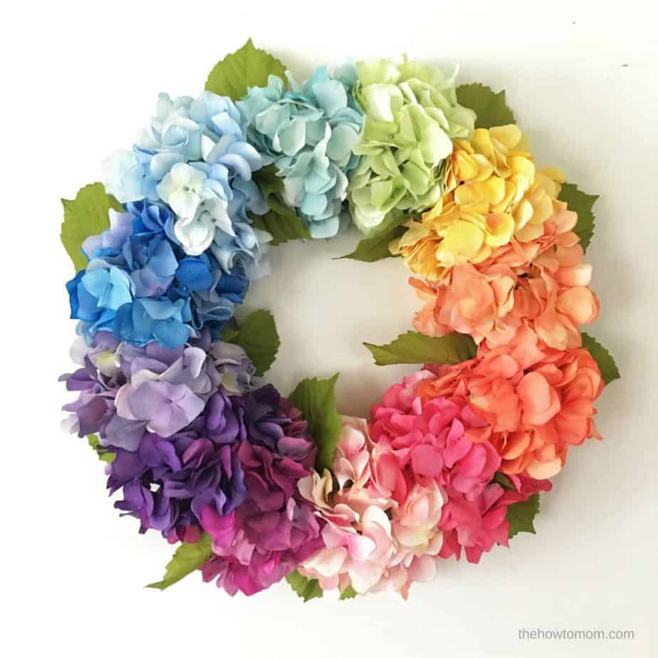 How to make a Hydrangea Wreath - rainbow ombre hydrangeas