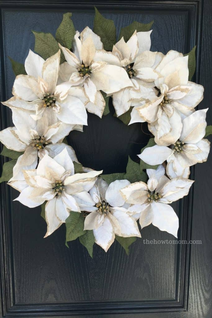 How to make a faux poinsettia wreath - gorgeous and glittery!