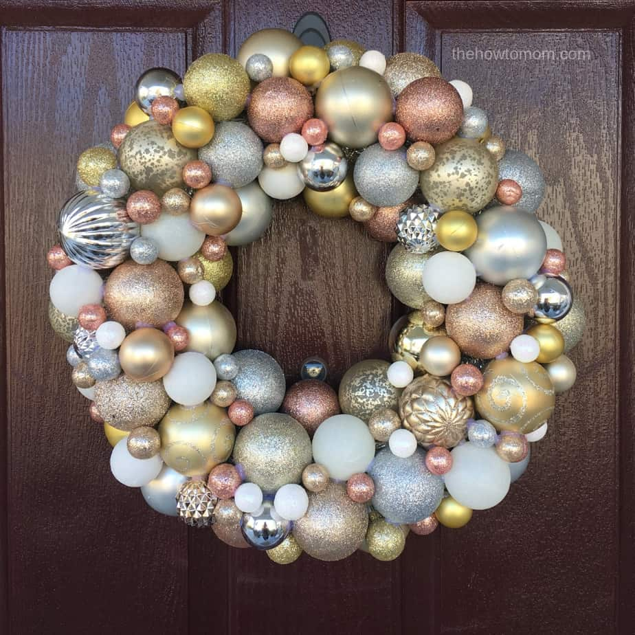 DIY Ornament Wreath - rose gold, white gold, silver and gold