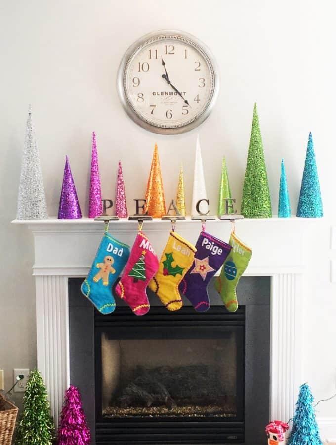 Rainbow Christmas Tree Cones - Bright and Colorful Christmas Decor