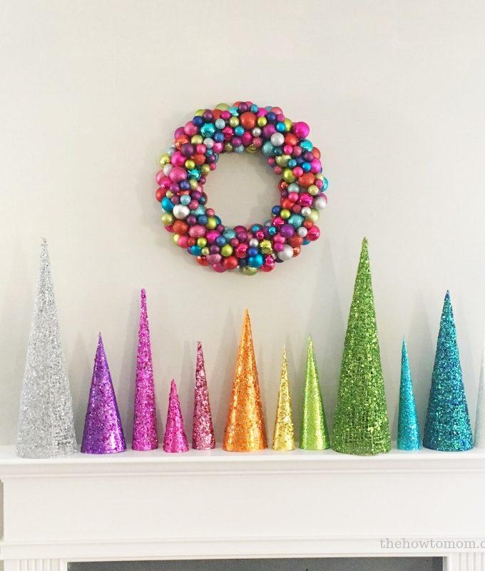 Rainbow Christmas Tree Cones DIY