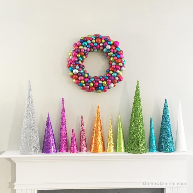 Rainbow Christmas Trees: Glittery Christmas Tree Cones DIY