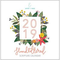 2019 Hand-Lettered Christian Calendar with Floral Illustrations, Calligraphy Bible Verse/Planner / Wall Calendars (12 x 12 inch)