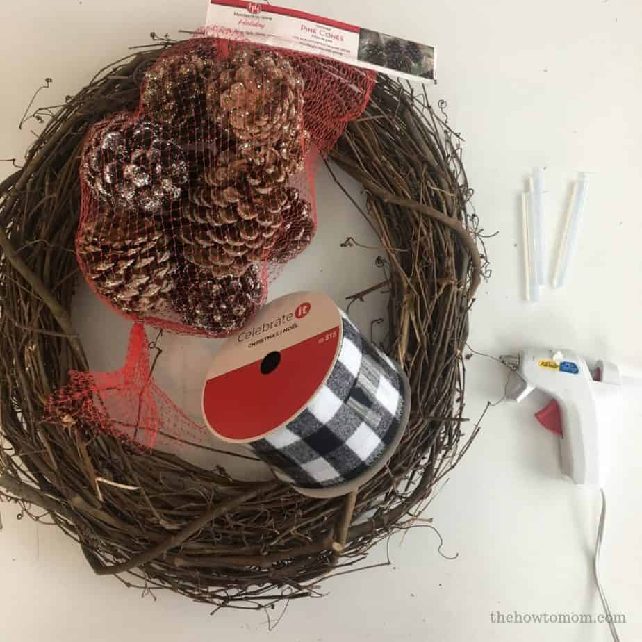 How to Make a Pinecone Wreath - Supplies needed