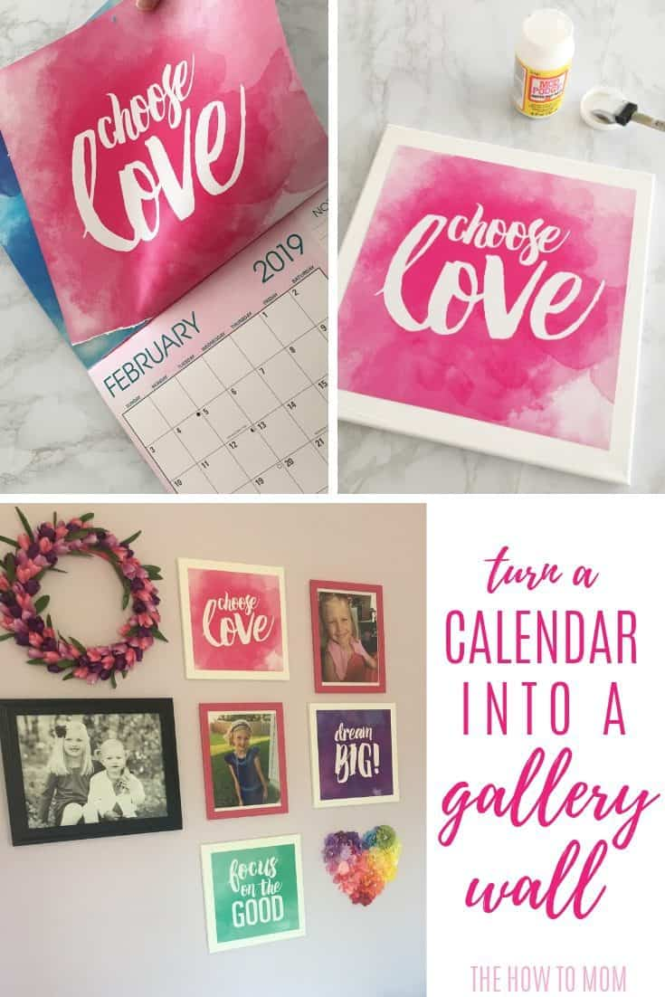 Turn a beautiful or inspirational calendar into canvas prints for a gallery wall, easy!
