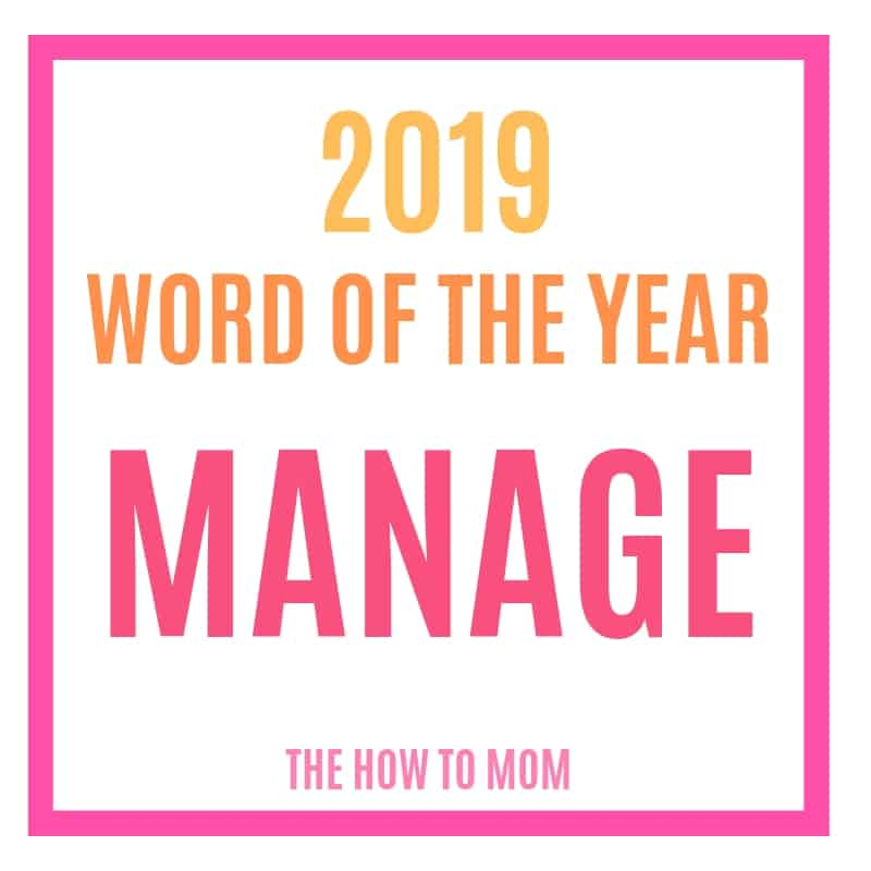 my word of the year - manage