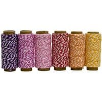 Hemptique Cotton Baker's Twine Mini Spool Set 2-Ply 65'-Spring Fling