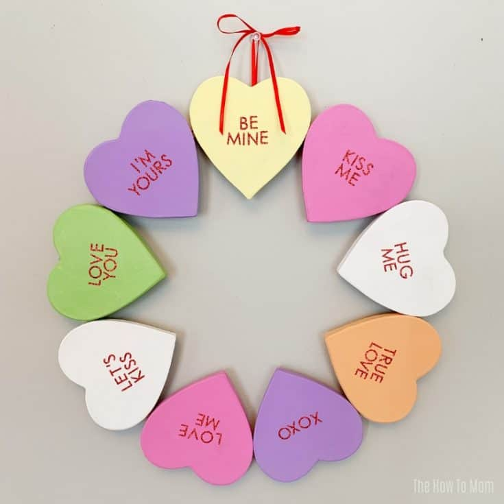 Conversation Heart Wreath - Valentines Decor DIY