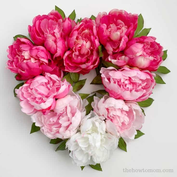 Ombre Peony Heart Wreath