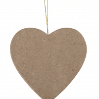 Flat Heart Paper Mache Ornament by ArtMinds™
