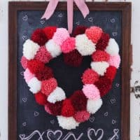 Whimsical Pom-Pom Heart Wreath