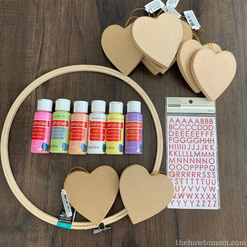 Supplies needed to make a Conversation Heart Wreath
