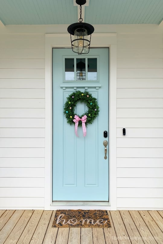 Robins Egg blue door with haint blue ceiling
