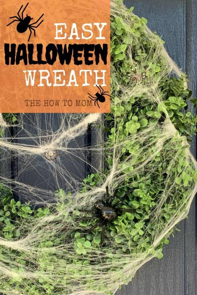 Easy Halloween Wreath with spider web and spiders