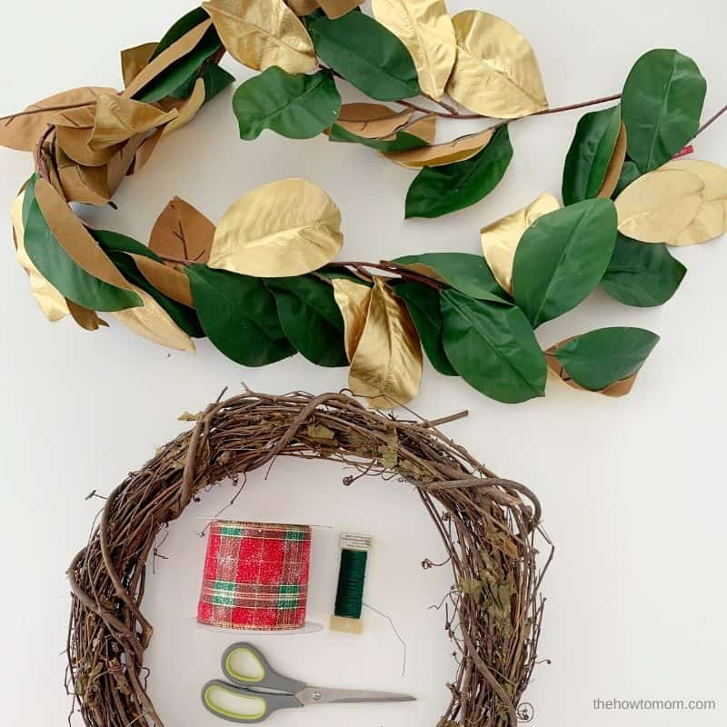 supplies needed for holiday magnolia wreath