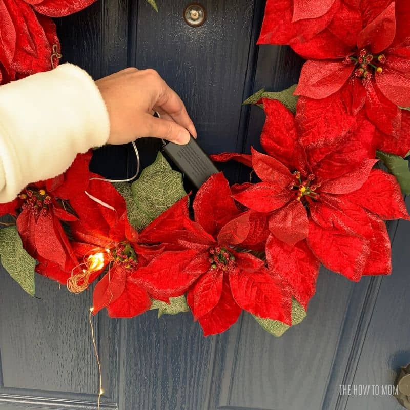 LED lights on Christmas Wreath