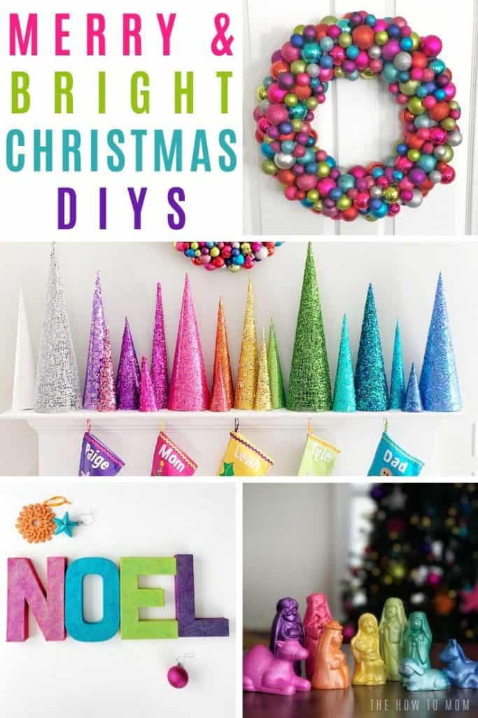 colorful wreath, rainbow christmas tree cones, and rainbow nativity set