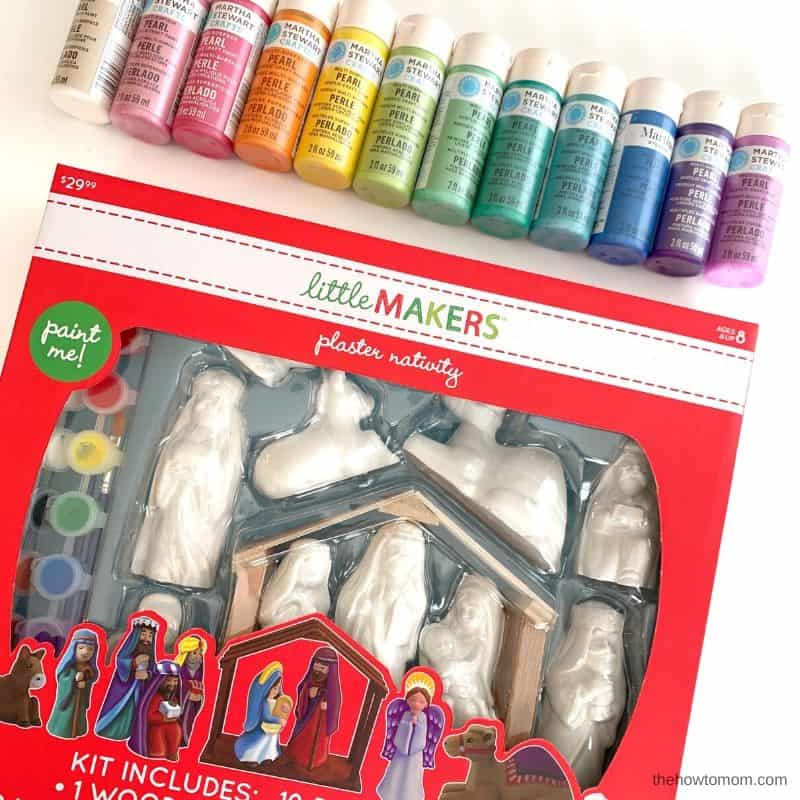 rainbow pearlized paint and blank nativity set