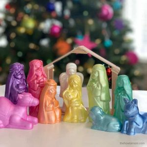 Rainbow Painted Nativity Set – Christmas Craft for Kids