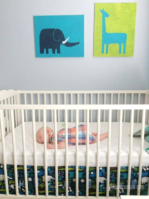 baby crib with matching art