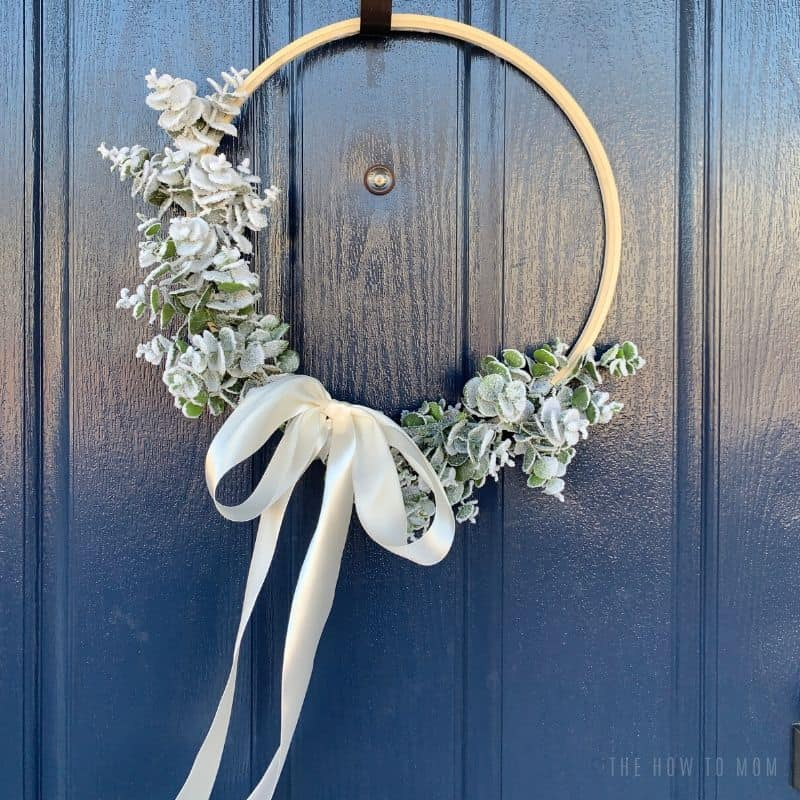 wintery wreath on navy door