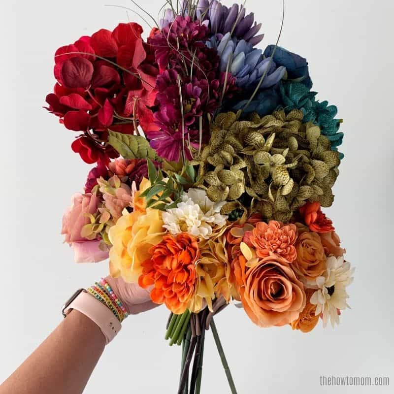 fall bouquet of rainbow flowers