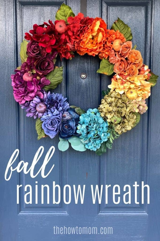 how to make a fall rainbow wreath