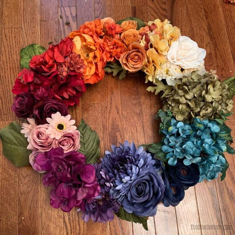 how to make a fall rainbow floral wreath